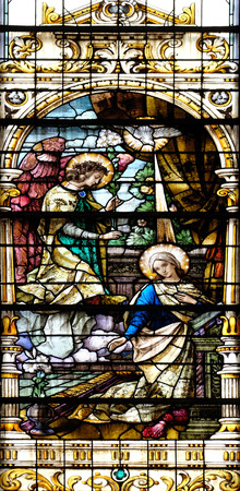 annunciation of mary: Annunciation of the Virgin Mary, stained glass window in the Basilica of the Sacred Heart of Jesus in Zagreb, Croatia on May 28, 2015 Stock Photo
