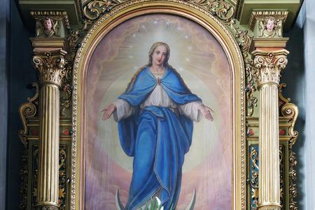 retablo: Virgen Mar�a retablo de la bas�lica del Sagrado Coraz�n de Jes�s en Zagreb, Croacia, el 28 de mayo 2015