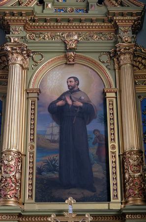 retablo: San Francisco Javier, retablo de la bas�lica del Sagrado Coraz�n de Jes�s en Zagreb, Croacia, el 28 de mayo 2015