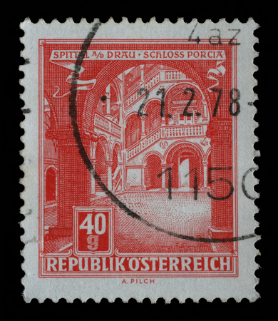 A stamp printed in Austria, shows Schloss Porcia Porcia Castle in Spittal an der Drau, circa 1962 Editorial