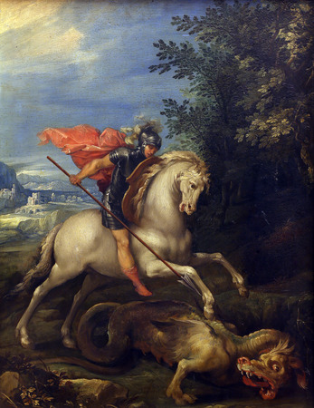 slaying: Giuseppe Cesari Cavaliere dArpino: St. George slaying the dragon, Old Masters Collection, Croatian Academy of Sciences, December 08, 2014 in Zagreb, Croatia