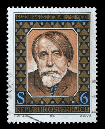 dramatist: A stamp printed in Austria issued for the 125th anniversary of the birth of Arthur Schnitzler shows author and dramatist Arthur Schnitzler, circa 1987.