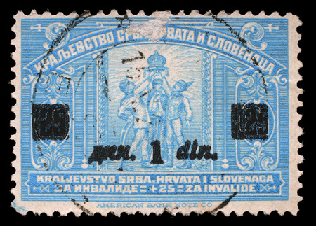 A stamp printed in Kingdom of Serbia, Croatia and Slovenia for the Benefit of Invalid Soldiers, circa 1921.