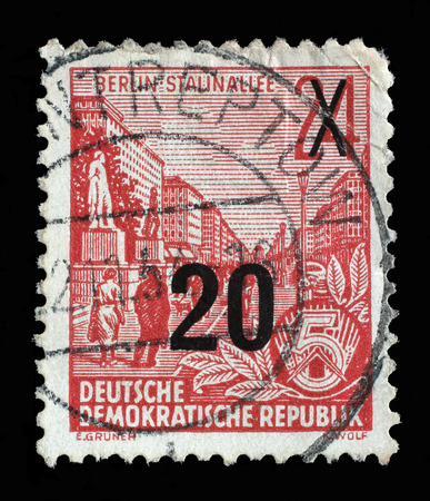 gdr: Stamp printed in GDR, shows Stalin Avenue with inscription Berlin, Stalin Avenue, series Five-year plan, circa 1955 Stock Photo