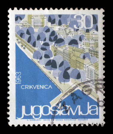philatelic: Stamp printed in Yugoslavia from the Local Tourism issue shows Crikvenica, Croatia, circa 1963. Stock Photo