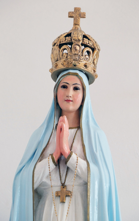 our lady: Our Lady of Fatima statue in the Church of Saint Francis of Assisi in Lipik, Croatia on May 07, 2015