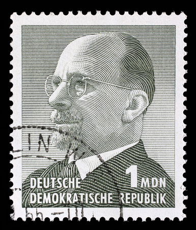 east germany: Stamp printed in Germany shows the leader of East Germany from 1950 to 1971 Walter Ulbricht, circa 1963. Editorial