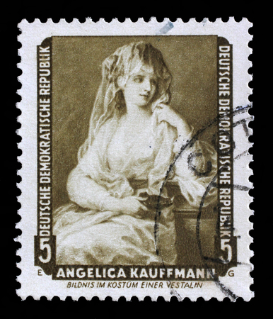 vestal: Stamp printed in DDR shows the painting Portrait of a Lady as a Vestal Virgin, by Angelica Kauffmann, from the series Famous Paintings from Dresden Gallery, circa 1957.
