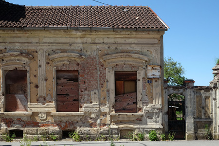 shrapnel: Destroyed house as war aftermath. The Croatian War of Independence was fought from 1991 to 1995 in Pakrac, Croatia on May 07, 2015