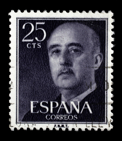 sello: Stamp printed in Spain shows a portrait of Francisco Franco, circa 1955.
