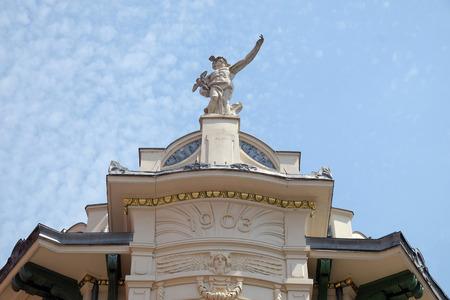emporium: Mercury, the Roman God, at the top of the Galeria Emporium, former Mercure Center 1903, Ljubljana, Slovenia on June 30, 2015
