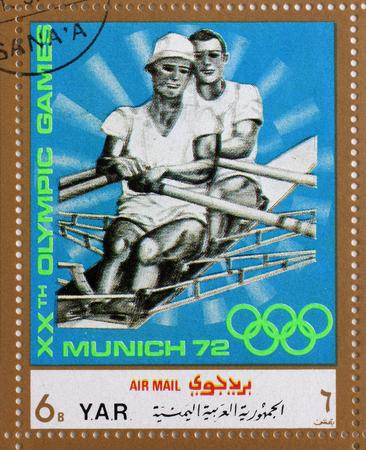 sculling: Stamp printed in Yemen Arab Republic shows sculling, Olympics in Munich, circa 1972