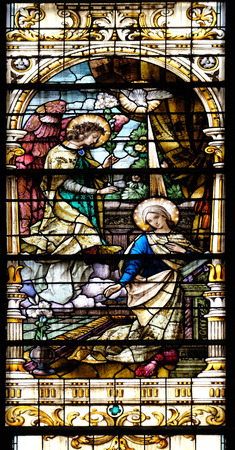 annunciation of mary: Annunciation of the Virgin Mary, stained glass window in the Basilica of the Sacred Heart of Jesus in Zagreb, Croatia on May 28, 2015 Editorial