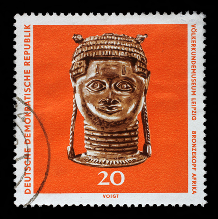ethnography: Stamp printed in GDR shows bronze head from Africa, The Ethnography Museum of Leipzig, circa 1971.