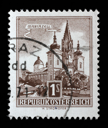 circa: Stamp printed in Austria shows image of the church in Austrian city Mariazell, series, circa 1957