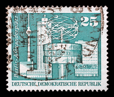 gdr: Stamp printed in GDR shows World Clock, Alexander Square, Berlin, circa 1973