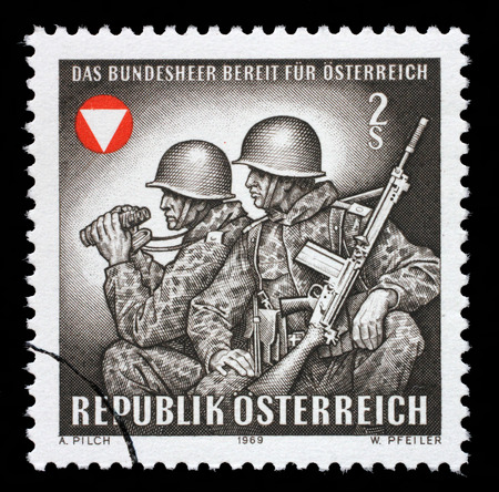 frontier: Stamp printed by Austria, shows Frontier guards, circa 1969 Editorial