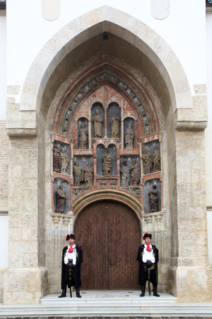 honour: Guard of Honour of the Cravat Regiment on the south portal of the church of St. Mark in Zagreb, Croatia on September 20, 2014 Editorial