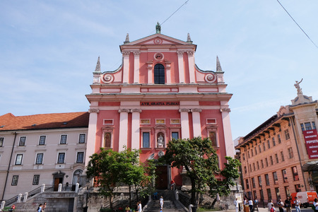 franciscan: Franciscan Church of the Annunciation on Preseren Square in Ljubljana, Slovenia on June 30, 2015