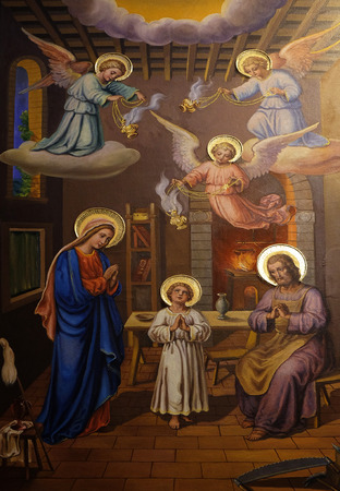 annunciation: Holy Family, fresco in the Franciscan Church of the Annunciation on Preseren Square in Ljubljana, Slovenia on June 30, 2015 Editorial