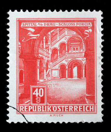 spittal: Stamp printed in Austria, shows Schloss Porcia Porcia Castle in Spittal an der Drau, circa 1962