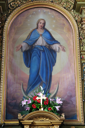altarpiece: Virgin Mary altarpiece in the Basilica of the Sacred Heart of Jesus in Zagreb, Croatia on May 28, 2015