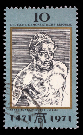 durer: Stamp printed in DDR shows Self-Portrait, by Durer, 500th anniversary of the birth of Albrecht Durer, painter and engraver, circa 1971
