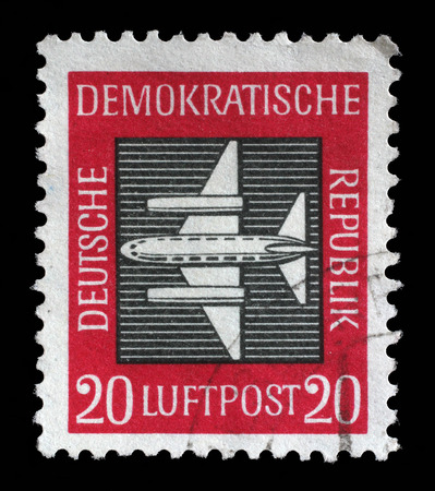 gdr: Stamp printed in GDR East Germany shows a airplane with the inscription Airmail from the series Airmail , circa 1957