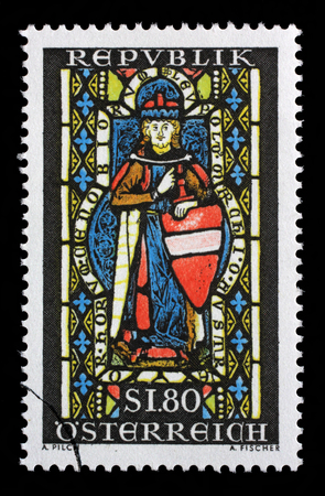 leopold: Stamp printed in the Austria shows St. Leopold, Window, Heiligenkreuz Abbey, Margrawe Leopold III, Patron Saint of Austria, circa 1967 Editorial