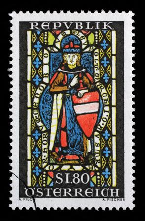 Stamp printed in the Austria shows St. Leopold, Window, Heiligenkreuz Abbey, Margrawe Leopold III, Patron Saint of Austria, circa 1967 Editorial