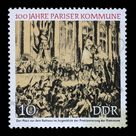 gdr: Stamp printed in GDR shows Proclamation of the Commune, Town Hall, Paris, Centenary of the Paris Commune, circa 1971
