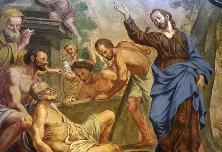 lazarus: Jesus Miracles - Raising Lazarus, fresco in the St Nicholas Cathedral in the capital city of Ljubljana, Slovenia on June 30, 2015