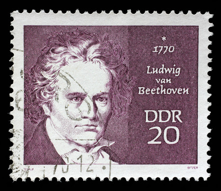 beethoven: Stamp printed in GDR shows Ludwig van Beethoven, composer, circa 1970 Editorial
