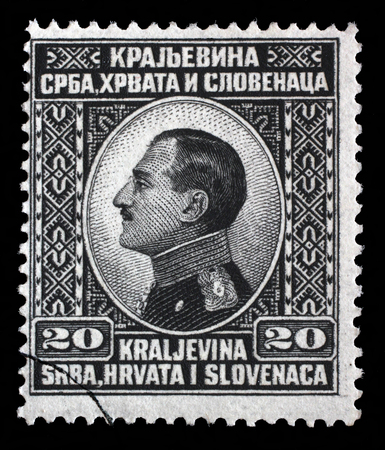 yugoslavia: Stamp printed in Yugoslavia Kingdom Serbia, Croatia and Slovenia shows portrait of King Alexander I of Yugoslavia, series King Alexander I, circa 1924 Editorial