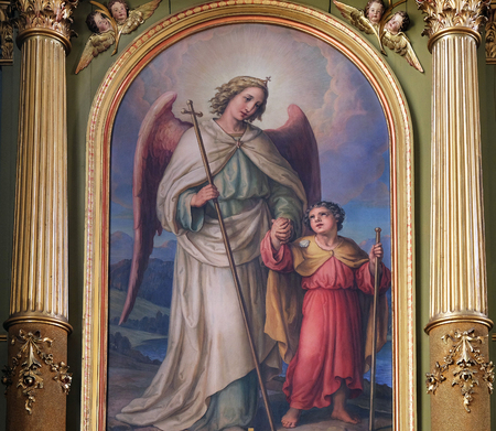 altarpiece: Guardian angel, altarpiece in the Basilica of the Sacred Heart of Jesus in Zagreb, Croatia on May 28, 2015