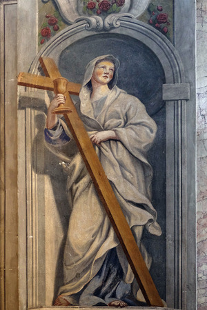 helena: Saint Helena, fresco in the St Nicholas Cathedral in Ljubljana, Slovenia on June 30, 2015