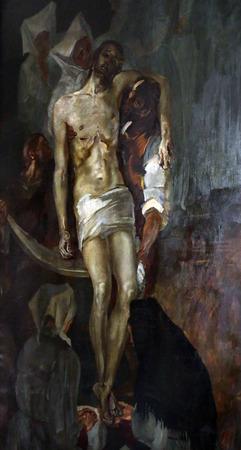 altarpiece: Deposition from the Cross, altarpiece in parish church of Saint Mark in Zagreb, Croatia on November 21, 2014