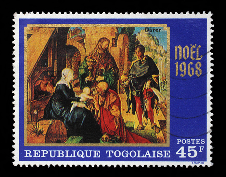 durer: A post stamp printed in the Republic of Togo shows Adoration of the Magi, by Durer, Christmas issue, circa 1968. Stock Photo