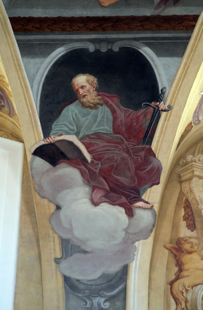 apostle paul: Saint Paul the Apostle, fresco on the ceiling  of the Cathedral of St Nicholas in the capital city of Ljubljana, Slovenia on June 30, 2015