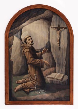 altarpiece: Saint Francis of Assisi, altarpiece in the Church of Saint Francis of Assisi in Lipik, Croatia on May 07, 2015 Editorial