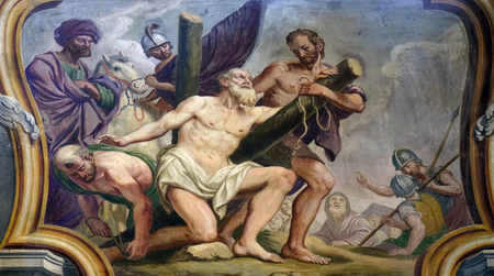 apostle: Saint Andrew the Apostle, fresco on the ceiling  of the Cathedral of St Nicholas in the capital city of Ljubljana, Slovenia on June 30, 2015