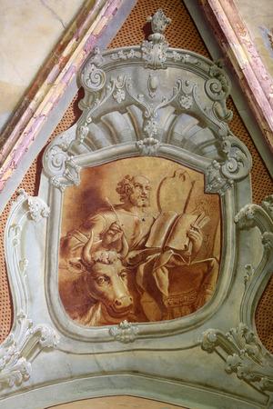 evangelist: Saint Luke the Evangelist, fresco in parish Church of the Immaculate Conception of the Virgin Mary in Lepoglava on September 21, 2014