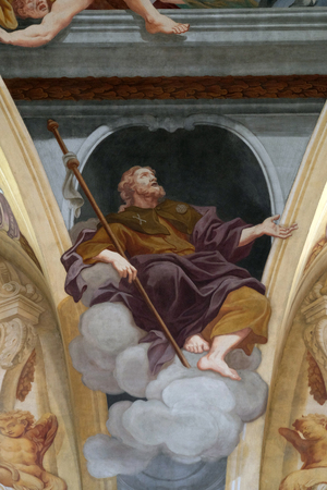 apostle: Saint James the Apostle, fresco on the ceiling  of the Cathedral of St Nicholas in the capital city of Ljubljana, Slovenia on June 30, 2015
