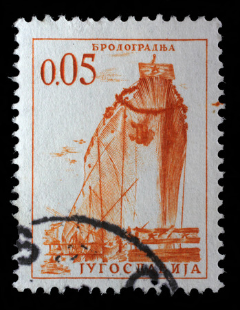 yugoslavia federal republic: Stamp printed by Yugoslavia, shows a ship in a shipyard, series, circa 1966