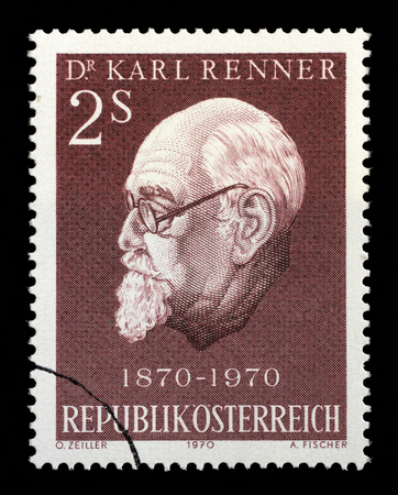 social history: Stamp printed in Austria shows Karl Renner 1870-1950, president of Austria, circa 1970