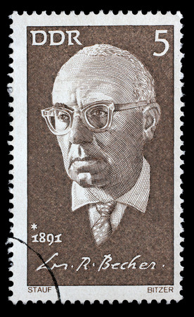 novelist: Stamp printed in GDR shows Johannes R. Becher, Politician, Novelist and Poet, circa 1971