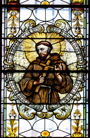 Saint Francis of Assisi, stained glass window in Cathedral of St Nicholas in Novo Mesto, Slovenia on June 30, 2015
