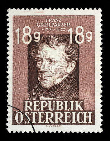 franz: Stamp printed in the Austria shows Franz Grillparzer, Dramatic Poet, 75th Anniversary of the Death, circa 1947