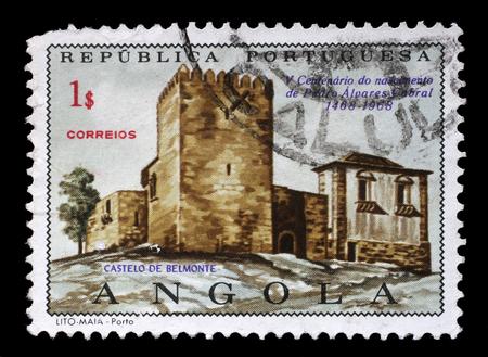 belmonte: Stamp printed in the Portuguese Angola shows Belmonte Castle, Pedro Alvares Cabral, circa 1970