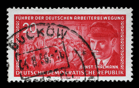 social history: Stamp printed in GDR East Germany shows Ernst Telman 1886-1944, leader of the Communist Party of Germany, circa 1955 Editorial